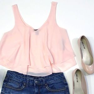 [Forever 21] Semi-Sheer Tiered Chiffon Crop Top